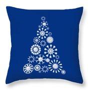 Pine Tree Snowflakes - Dark Blue Throw Pillow
