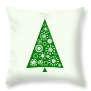 Pine Tree Snowflakes - Green Throw Pillow