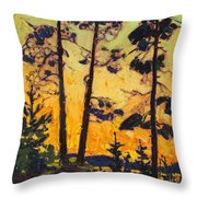 Pine Trees At Sunset Throw Pillow