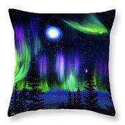 Pine Trees In Aurora Borealis Throw Pillow