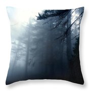 Pine Trees In Fog Throw Pillow