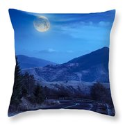Pine Trees Near Valley In Mountains And Autumn Forest On Hillsid Throw Pillow
