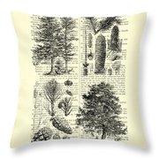 Pine Trees Study Black And White  Throw Pillow