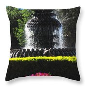 Pineapple Fountain Charleston Sc Throw Pillow