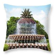 Pineapple Fountain In Charleston South Carolina Throw Pillow