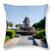 Pineapple Fountain In Charleston Throw Pillow