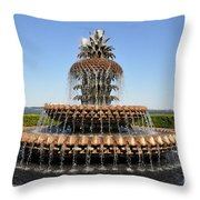 Pineapple Fountain In The Park Throw Pillow