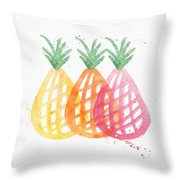 Pineapple Trio Throw Pillow by Linda Woods