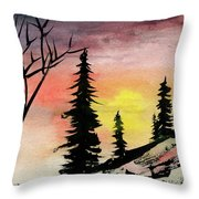 Pines In Rocks Throw Pillow