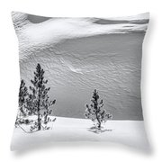 Pines In Snow Drifts Black And White Throw Pillow