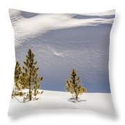 Pines In The Snow Drifts Throw Pillow