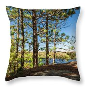 Pines On Sunny Cliff Throw Pillow