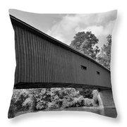 Pinetown Bushong's Covered Bridge Black And White Throw Pillow