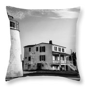 Piney Point Lighthouse - Mayland - Black And White Throw Pillow