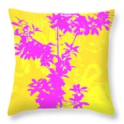Pink Abstract Tree Throw Pillow