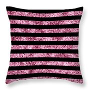 Pink And Black Glitter Sequin Stripes Throw Pillow