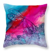 Pink And Blue Dragonflies Throw Pillow