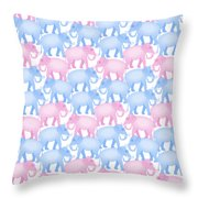 Pink And Blue Elephant Pattern Throw Pillow