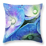 Pink And Blue Hydrangea 5 Throw Pillow