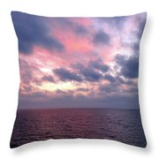 Pink And Blue Sunset In The Black Sea Throw Pillow
