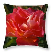 Pink And Gold Rose Throw Pillow