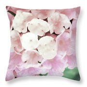 Pink And Green Blossoms Throw Pillow