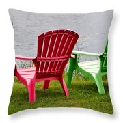 Pink And Green Lounging Chairs By The Lake Throw Pillow by Louise Heusinkveld