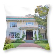 Pink And Green Mansion Throw Pillow