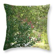 Pink And Green Path Throw Pillow
