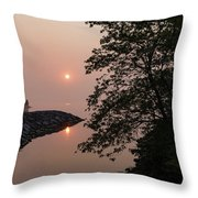 Pink And Green Summer - Soft Misty Sunrise On The Lake Throw Pillow