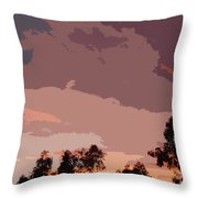 Pink And Mauve Sky Abstract Throw Pillow