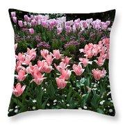 Pink And Mauve Tulips Throw Pillow