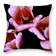 Pink And Orange Tulips Throw Pillow