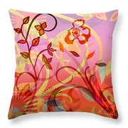 Pink And Purple Flower Medley Throw Pillow