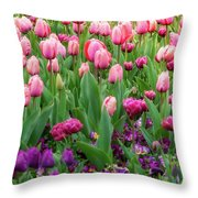 Pink And Purple Tulips At The Spring Floriade Festival Throw Pillow