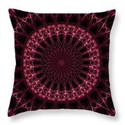 Pink And Red Glowing Mandala Throw Pillow