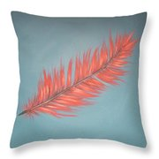 Pink And Teal Feather Throw Pillow