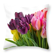 Pink And Violet  Tulips Throw Pillow