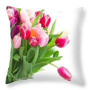 Pink And Violet Tulips Bouquet  Throw Pillow
