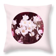 Pink And White Anemones Throw Pillow