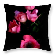 Pink And White Flowers On Black Throw Pillow