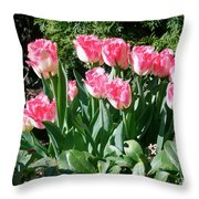Pink And White Fringed Tulips Throw Pillow