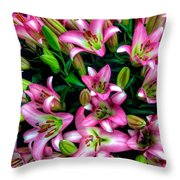 Pink And White Lilies Throw Pillow