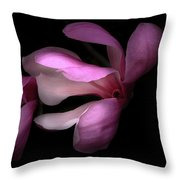 Pink And White Magnolia In Silhouette Throw Pillow