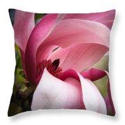 Pink And White Magnolia Throw Pillow