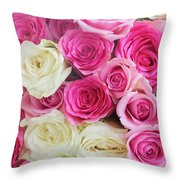 Pink And White Roses Bunch Throw Pillow