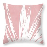 Pink And White Tropical Leaf- Art By Linda Woods Throw Pillow by Linda Woods