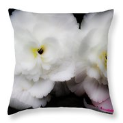 Pink And Yellow On White 3 Throw Pillow