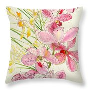 Pink And Yellow Orchids Throw Pillow