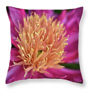 Pink And Yellow Peony Throw Pillow